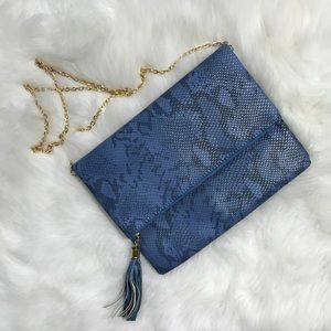 Blue and gold snakeskin pattern clutch